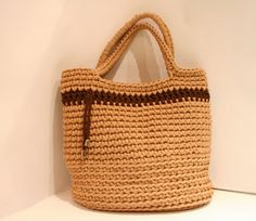 Crochet handbag/rope knitted bag/big market shopping bag/sand bag/woman accessories/crocheted tote/long handle bag
