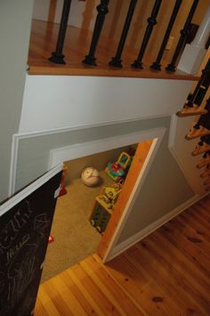 I like chalk board paint for cubby under stairs