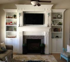 such a great fireplace and builtin surround dream home pinterest living rooms brick fireplace and room - Fireplace Surround Ideas