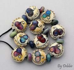 Heart Lampwork Beads For Jewelry Glass Beads For Statement Necklace Beads For Jewelry Supplies Boho Bracelet Beaded Earrings Debbie Sanders Silver Hoop Earrings, Beaded Earrings, Beaded Jewelry, Beaded Bracelets, Jewellery, Necklaces, Clay Jewelry, Polymer Clay Beads, Lampwork Beads