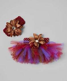 This Purple & Brown Tutu & Headband - Infant & Toddler is perfect! #zulilyfinds
