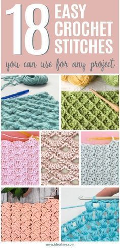 If youre ready to give crochet a try, weve got you covered. Weve found 18 easy crochet stitches you can use for any project to get you started. Once youve learned a few basic stitches, you can tackle any simple crochet projects with ease. - The Crocheting Crochet Diy, Easy Crochet Stitches, Crochet Simple, Crochet Basics, Crochet For Beginners, Learn To Crochet, Crochet Crafts, Crochet Tutorials, Crochet Afghans