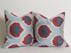 SET Of 2 Burgundy Navy Blue Silk Ikat Pillow Cover by pillowme