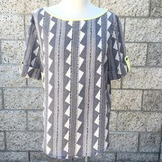 Aztec Patterned Blouse Pop of yellow! Condition: Previously loved... Flaws: None. Tops Blouses