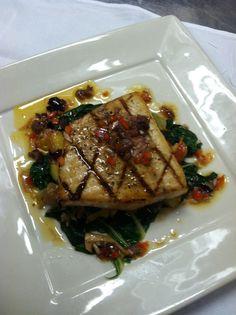 Swordfish with Tomato-Olive Vinaigrette from Chef Antonio Ghilarducci at the Depot Hotel Restaurant, Sonoma