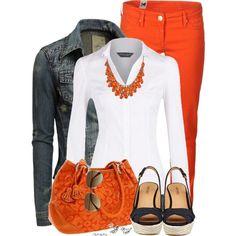 """""""Denim & Orange - Take 2"""" by stylesbyjoey on Polyvore"""