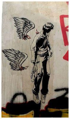 Broken wings - WD Street Art Athens - Wild Drawing Street Artist - Walls Graffiti - Oil Canvas - Greece