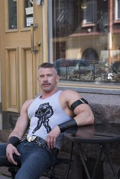 Leather Duo Ribbed Tank <br> Tom of Finland Tank Tops Fit: European FitMaterial: Cotton Part of proceeds benefit Tom of Finland Foundation Scruffy Men, Hairy Men, Bearded Men, Beautiful Men Faces, Gorgeous Men, Tom Of Finland, Hunks Men, Muscle Hunks, Hommes Sexy