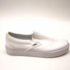 8f308ec365a New Vans Womens True White Classic Slip On Canvas Skater Shoes Size US 5.5  EU 35