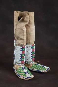 Sioux High-Top Moccasins. The Sioux are Native American and First Nations people in North America.