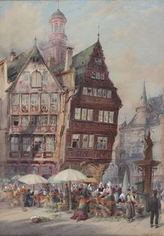 J Sowden Antique Large Original Watercolour Painting Germany 1 of Pair Signed Watercolor Art Paintings, Frankfurt, British, Fine Art, Contemporary, The Originals, Perception, Antiques, Germany