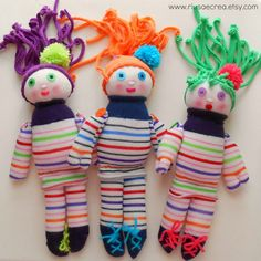 Handmade sock dolls: soft and cheerfully colored by RiusaeCrea