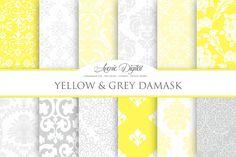 Yellow and Gray Damask Digital Paper by AvenieDigital on Creative Market