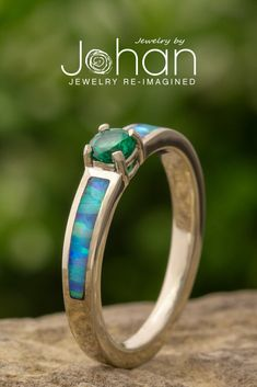 Jewelry by Johan's engagement rings are crafted with unique materials and gemstones, like opal and emerald. #JewelrybyJohan Wood Engagement Ring, Dinosaur Bones, Opal Rings, Emerald, Rings For Men, Pure Products, Gemstones, Unique