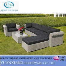 Yuanxiang UV PE Round Rattan Wicker Sectional Waterproof cushion garden sofa