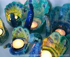 Ceramic Peacock candle votive holders