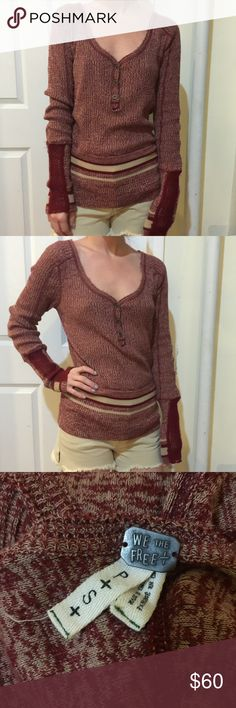 FREE PEOPLE Red Rugby Crochet Sleeve Henley Shirt We the Free- Free People red top with rugby like stripes at bottom- a ribbed body and crochet sleeve detail along the ends. Button down center henley style!! Size small :) Free People Tops