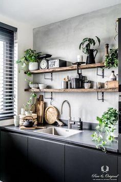 Modern Kitchen Interior Vintage Kitchen Design and Decor Ideas. Kitchen Shelves, Diy Kitchen, Design Kitchen, Kitchen Ideas, Awesome Kitchen, Kitchen With Plants, Modern Kitchen Wall Decor, Kitchen Cabinets, Kitchen Lamps