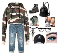 """Untitled #3"" by amcracea-1 ❤ liked on Polyvore featuring Hollister Co., adidas, EyeBuyDirect.com, WithChic and MINX"