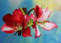"""""""Red Orchids"""" by Kathleen Noffsinger. This wonderful Virginia artist paints in watercolor on canvas and paper. I especially like her florals and birds (she does herons!). She also shares her knowledge by teaching. Several original works are currently available, but this red orchid is offered only as a giclee. See her gallery at: http://www.kathleennoffsinger.com/watercolor-gallery/"""