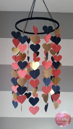 Heart shape paper mobile Navy coral and gold Baby room decoration Wedding decora. - Heart shape paper mobile Navy coral and gold Baby room decoration Wedding decoration Baby shower Ch - Home Crafts, Diy Home Decor, Diy And Crafts, Crafts For Kids, Paper Crafts, Craft Ideas For Teen Girls, Summer Crafts, Decor Crafts, Coral Y Oro