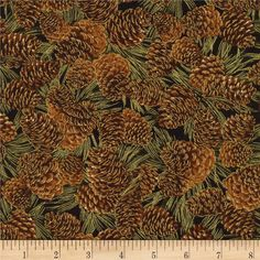 Timeless Treasures Gather Together Metallic Harvest Pine Cones Black from @fabricdotcom  Designed for Timeless Treasures, this cotton print includes colors of brown, green and black with gold metallic accents throughout. Use for quilting, apparel, crafts and home decor accents.