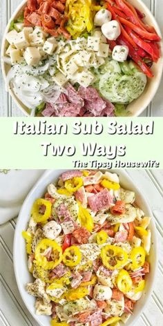 Italian Sub Salad. This salad can be made two ways. A tortellini pasta salad and… Italian Sub Salad. This salad can be made two ways. A tortellini pasta salad and a variation for keto and low carb recipe seekers. Perfect for parties and lunch ideas. Meat Recipes, Pasta Recipes, Low Carb Recipes, Cooking Recipes, Healthy Recipes, Italian Salad Recipes, Italian Sub Salad Recipe, Low Carb Meals, Italian Chopped Salad
