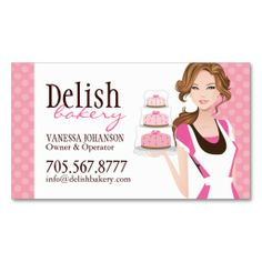 Customizable Cake Bakery Business Card created by colourfuldesigns. This design is available on several paper types and is totally customizable. Bakery Business Cards, Cake Business, Unique Business Cards, Business Card Design, Baking Logo, Visiting Card Design, Bakery Logo Design, Free Business Card Templates, Templates Free