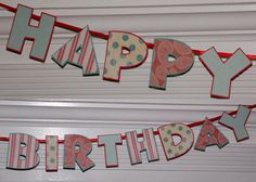 Happy Birthday Letter Banner  Red & Teal Blue  by APaperPlayground, $15.00
