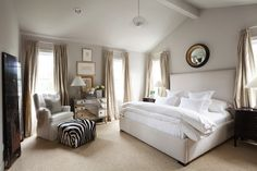 Ashley Goforth Design - bedrooms - Amelie Mirrored Hall Chest, vaulted ceiling, vaulted ceiling bedroom, bedroom vaulted ceiling, high vault...
