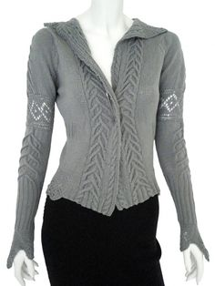Designer: Delphine Wilson    Item: Handmade jacket    Composition: 50% Cotone 30% Seta 20% Lana Kashmir    Made in Italy    Description:    Small handmade jacket in ecoriendly cotton silk and kashmir yarn, fastened by a pin, openwork and cable pattern, rib on the hips      > Need Help?    Price $255.00