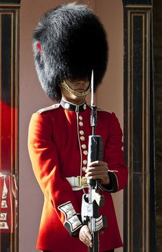 A Sentry. Regiment of Coldstream Guards, the Household Division.  I tried and tried harder to make him laugh or flinch, or move in any way  or make a sound of any kind  - didnt work