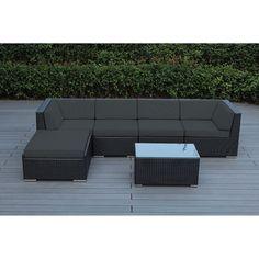 Ohana Outdoor Patio 6 Piece Black Wicker Sofa Sectional with Cushions , Patio Furniture