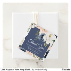 Shop Lush Magnolia Rose Navy Blush Floral Shower Favor Tags created by PrettyInviting. Favor Tags, Gift Tags, Floral Style, Pink Style, Blue Bridal, Blush Roses, Bridal Shower Favors, Floral Watercolor, Magnolia