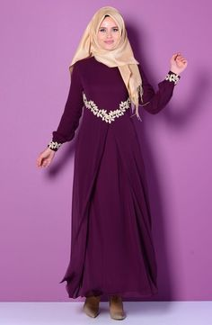 Abaya with floral embroidery, doubled layered. Zippered lined abaya opened in the front. Color: Plum Sizes: XSmall (38), Small (40), Medium (42), Large (44), XLarge (46), 2XLarge (48), 3XLarge (50), 4
