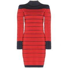 Balmain Bandage Dress ($1,870) ❤ liked on Polyvore featuring dresses, red, balmain, red dress, balmain dress, bandage dress and red bandage dress