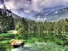 Lago di Tovel (Lake Tovel) in the Adamello Brenta Nature Park in northern Italy