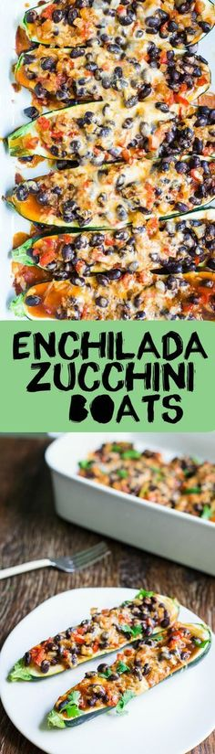 Enchilada Zucchini Boats- this recipe is VEGAN, vegetarian, gluten free, and super easy to make. Perfect for the summer when zucchini is everywhere! #ForVegetarians