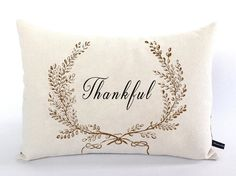 Thankful pillow cover vintage wreath Thanksgiving by FlossieandRay