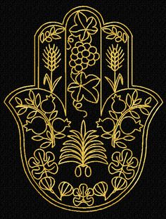 Gold Lacy Hamsa Machine Embroidery Designs set + corners - grapevine, figs, olives, dates, barley, wheat, pomegranate,