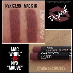 Dupe for Mac whirl lip liner using NYX cosmetics mauve