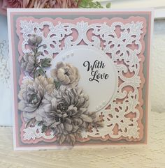 Tattered Lace Cards, Beautiful Handmade Cards, Create And Craft, Birthday Cards, Happy Birthday, Lace Flowers, Lace Design, Carnations, Flower Cards