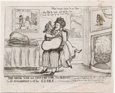 """""""The Royal Tar and Country Girl from Oldford, or, An Englishman In All His Glory"""" Published:[London] : Pubd. Napoleon French, French Empire, Sailor Outfits, Napoleonic Wars, Image Collection, Country Girls, Golden Age, Digital Image, 18th Century"""
