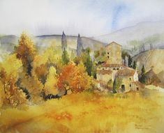 Autumn Colours, Tuscany by Rachel McNaughton Learn Watercolor Painting, Italy Painting, Watercolor Painting Techniques, Watercolor Projects, Watercolor Landscape, Watercolor And Ink, Landscape Art, Landscape Paintings, Contemporary Art Prints