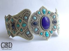 Beaded Belt with turquoise and blue colored cabochons - Guzel Bakeeva Designs