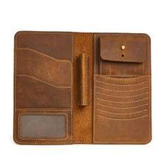 Leather Long Wallet for Men Vintage Bifold Wallet Passport Travel Wallet Mens Travel Wallet, Leather Passport Wallet, Leather Wallet Pattern, Slim Wallet, Long Wallet, Leather Clutch, Purse Wallet, Leather Men, Leather Cover