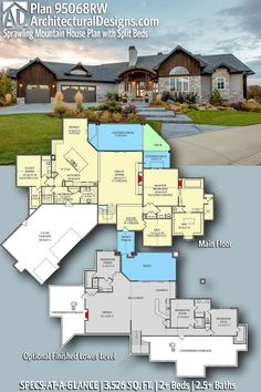 House Plan 95068RW gives you 3500+ square feet of living space with 2+ bedrooms and 2.5+ baths. AD House Plan #95068RW #adhouseplans #architecturaldesigns #houseplans #homeplans #floorplans #homeplan #floorplan #houseplan Rustic House Plans, Modern House Plans, Mountain House Plans, Mountain Homes, Plumbing Drawing, Floor Framing, Roof Detail, Garden Tub, Roof Plan