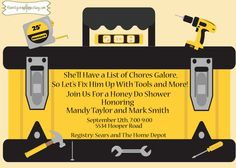 Matt's Tool Shower:  Tools and Toolbox Honey Do Party and/or Couples Shower-Printable Invitation. $15.00, via Etsy.