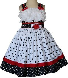 Little girls minnie ruffled polka dot dress: Traditional Children's ~ Smocked Dress Clothing, Smocked dresses, Bishop Dress. Polka Dot Summer Dresses, Black Polka Dot Dress, Polka Dots, Cute Summer Outfits, Kids Outfits, Little Girl Dresses, Girls Dresses, Outfit Trends, Outfit Ideas