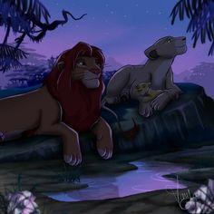 Simba, Nala, and Kiara. 🦁 The Lion King Simba Disney, Disney Pixar, Arte Disney, Disney Lion King, Disney Fan Art, Disney And Dreamworks, Simba E Nala, Nala Lion King, The Lion King 1994